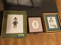 3 P. Buckley Moss prints: first measures 11 x 14, second measures 8 x 8 1/2 third measures 9 x 7 1/2