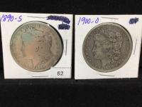 Two Peace Silver Dollars - 1890-S and 1900-O