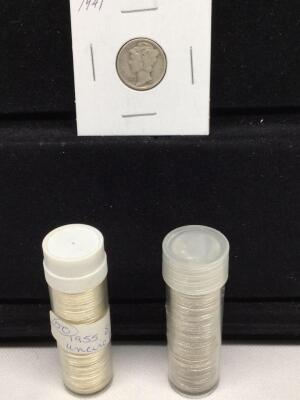 1941 Mercury dime, approximately 50- 1955 S Roosevelt dimes and approximately 50- 1957 Roosevelt dimes